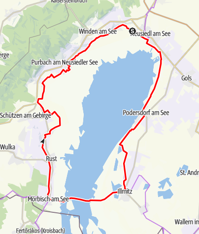 Karte /  Neusiedler See Radweg mit Seeüberquerung