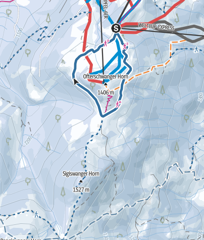 Map / Short snow-shoe trail around Ofterschwanger Horn