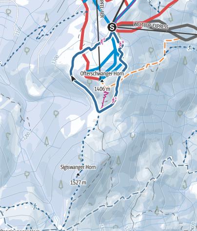 Map / Short snow-shoe trail around Ofterschwanger Horn
