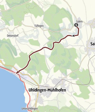 Karte / Prälatenweg vom Schloss Salem zur Wallfahrtskirche Birnau