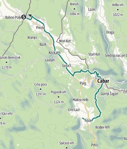 Map / Via Dinarica HR-W-01 Prezid - Čabar - Tršće