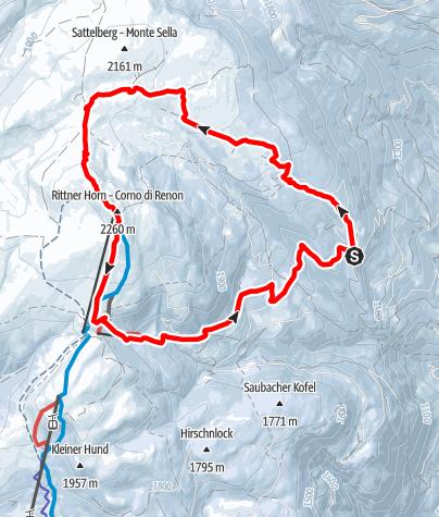Karte / Vom Huber Kreuz in Barbian aufs Rittner Horn (2.260 m)