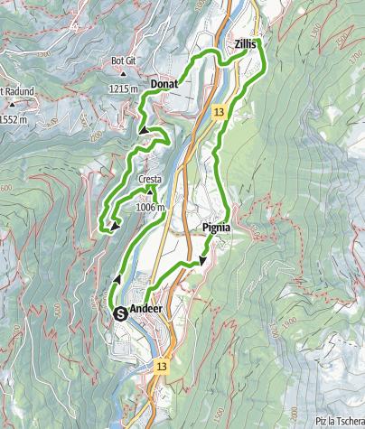 Karte / Schams / Val Schons (Rundwanderung)