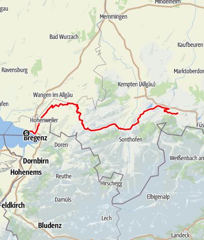 Karte / Bodensee-Königssee-Radweg FRW
