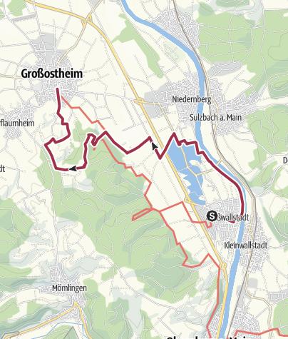 Karte / Fränkischer Rotwein Wanderweg - 1. Etappe von Großwallstadt nach Großostheim