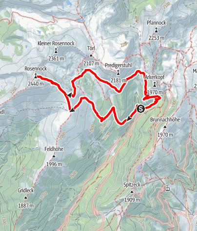Karte / Biosphärenpark Nockberge-Rosennock-Wanderweg