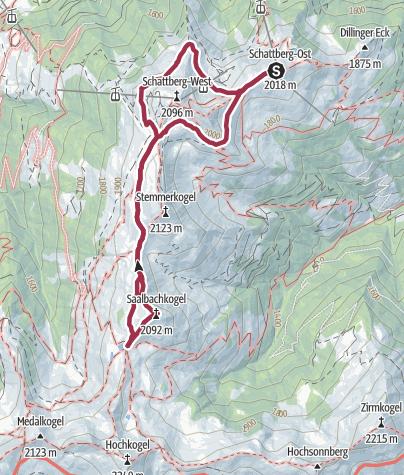 Karte / Schattberg Höhenrundweg mit Saalbachkogel