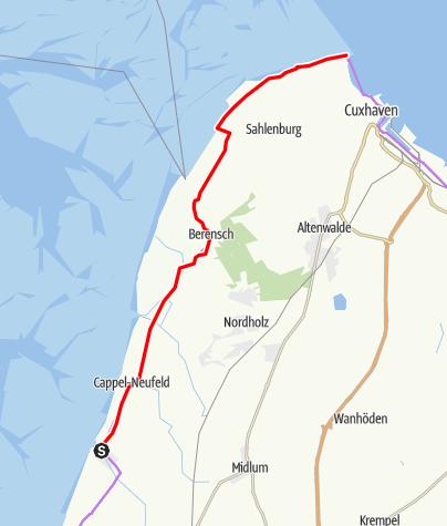 Karte / Weser-Radweg, 15.Etappe: Von Dorumer Neufeld bis Cuxhaven