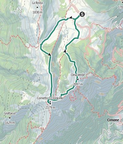 Karte / Rundwanderung der Tre Cime del Bondone