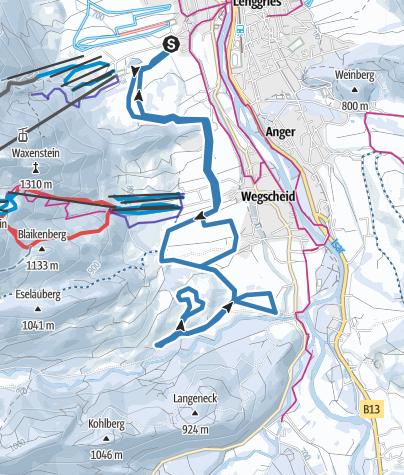 Karte / Klassische und Skating Loipe: Lenggries - Wegscheid - Schwarzenbachtal
