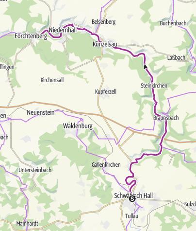 Karte / Kocher-Jagst Radweg Tour 2: Hohenloher Kochertal