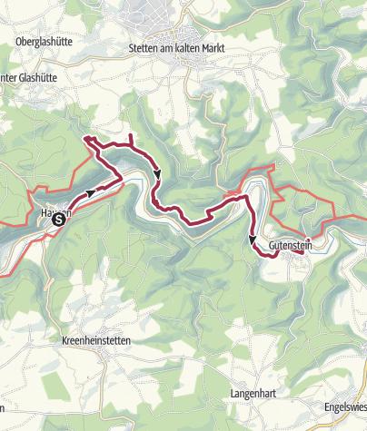 Karte / Von Hausen im Tal bis nach Gutenstein
