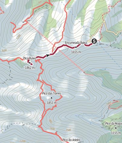 Karte / Von der Achada do Teixeira zum Pico Ruivo