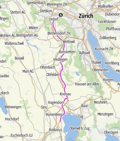 Karte / CH Schlieren - Hünenberg