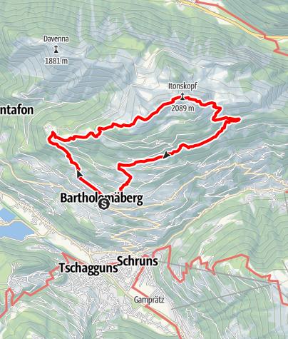 Karte / Übers Rellseck auf den Itonskopf (2.089 m)