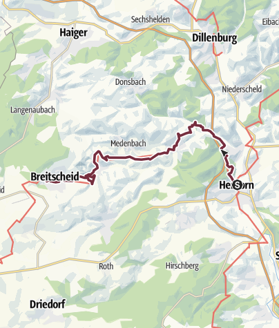 Karte / WesterwaldSteig  01. Etappe Herborn - Breitscheid (Ost-West)