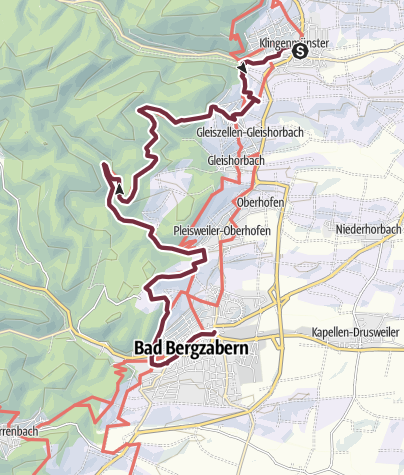 Karte / Pfälzer Weinsteig Etappe 10 Klingenmünster - Bad Bergzabern