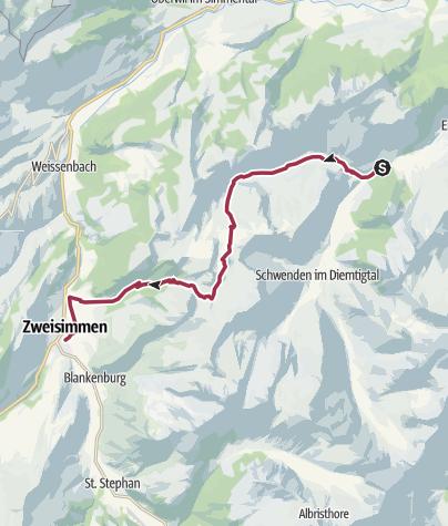 Karte / Diemtigtal - Seebergsee - Zweisimmen