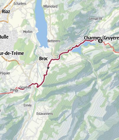 Karte / Chemin du Gruyère: Schoggi-Chäs-Route