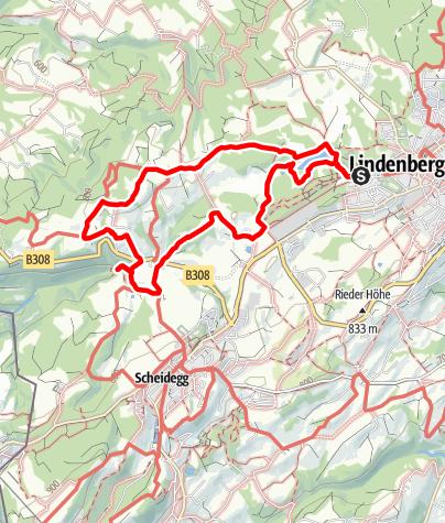 Karte / Vom Waldsee zu den Scheidegger Wasserfällen - Westallgäuer Wasserweg (Tour 8)