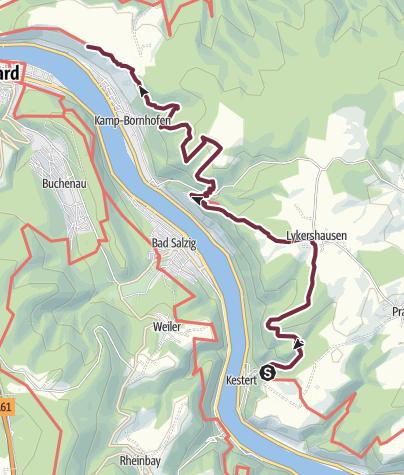 Karte / Rheinsteig 09. Etappe Kestert - Kamp-Bornhofen (Süd-Nord)