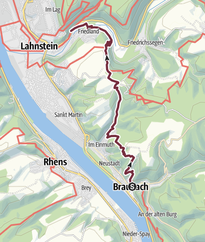 Map / Rheinsteig Stage 11: Braubach - Lahnstein (South - North)
