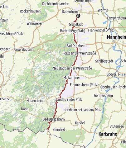 Karte / Deutsche Weinstraße - Wanderweg