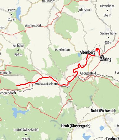 "Karte / Kammweg Etappe 01 ""Von Geising nach Holzhau"""