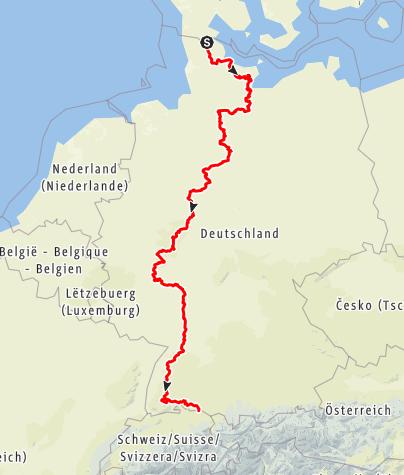 Karte / Europäischer Fernwanderweg E1 – deutscher Abschnitt von Flensburg nach Konstanz
