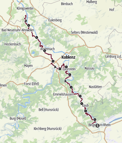 Map / RheinBurgenWeg – Complete Trail (South - North)