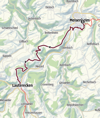 Karte / Pfälzer Höhenweg Etappe 06 Meisenheim - Lauterecken