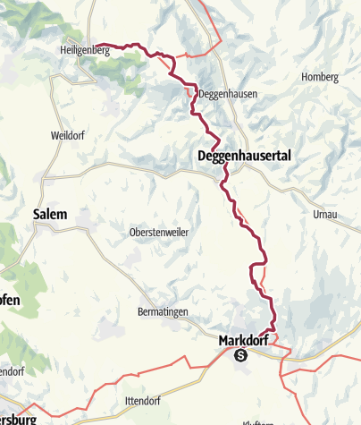 Mapa / Jubiläumsweg Bodenseekreis: von Markdorf nach Heiligenberg