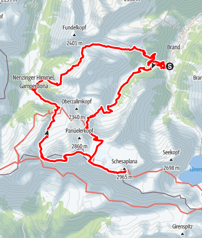 Karte / Brand – Schesaplana – Nenzinger Himmel – Brand: 3 Tagestour