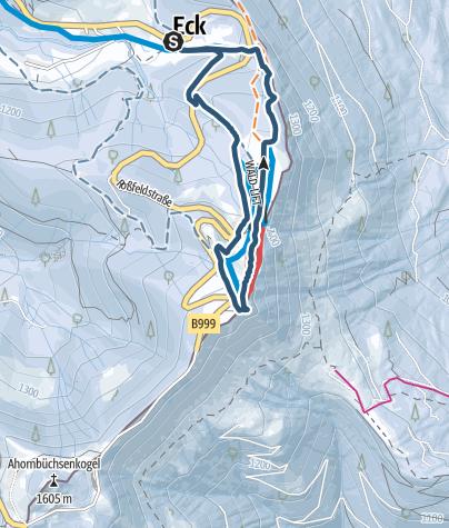 Karte / Rossfeld - Skitour mit Pistenabfahrt
