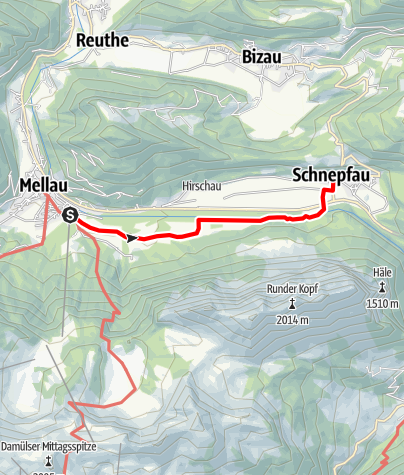 Karte / Mellau - Schnepfau | Am Fuße der Kanisfluh
