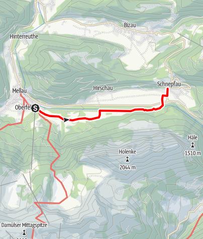 Karte / Mellau - Schnepfau   Am Fuße der Kanisfluh