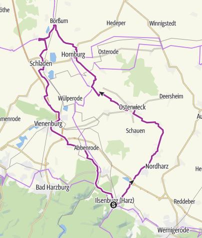 Karte / Radroute am Grünen Band im nördlichen Harzvorland