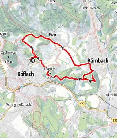 Karte / Köflacher Thermenlauf lang (rot)