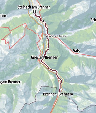 Karte / Fernwanderweg München - Verona Etappe 10: Von Steinach am Brenner zum Brennerpass (I)