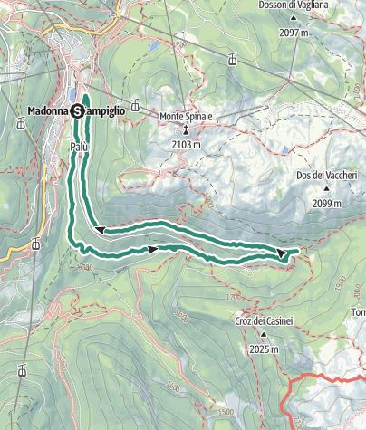 Karte / Madonna di Campiglio – Sentiero dell'Orso – Vallesinella-Wasserfälle