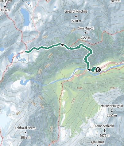 Map / Wanderung zur Berghütte Rifugio Città di Trento al Mandron