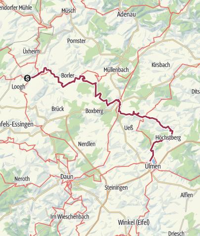 Karte / Vulkaneifel-Pfad: Hochkelberg Panorama-Pfad (2-Tages-Tour) (Nohner Mühle - Kelberg - Ulmen)