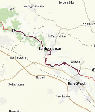 Karte / Hermannshöhen - Etappe 05 von Dissen bis HalleWestfalen