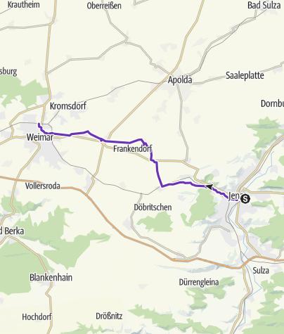 Karte / 9. Sonntagslauf von Jena über Kapellendorf nach Weimar; 13.03.2011