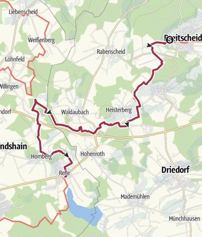 Karte / WesterwaldSteig  02. Etappe Breitscheid - Fuchskaute (Ost-West)