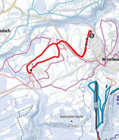 Karte / Loipe N 2 Runde bis Reichenbach, Variante vom Ortsteil Brand