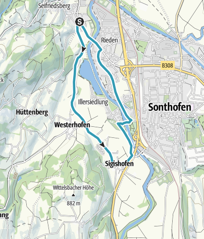 Karte / Bihlerdorf - Westerhofen - Sonthofen