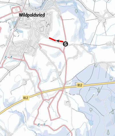 Karte / Loipe Kempter Wald Loipenanschluss Wildpoldsried Wolkenberger Straße