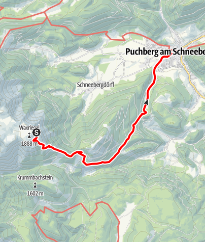 Karte / Zahnradbahnwanderweg vom Schneeberg nach Puchberg