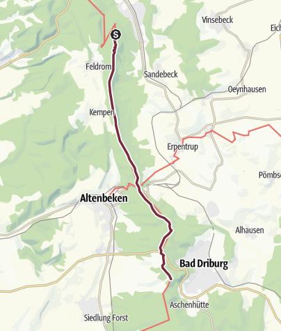 Karte / Hermannshöhen - Etappe 10 von Leopoldstal bis Bad Driburg